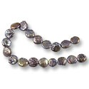 "Freshwater Coin Pearls Peacock Grey 11-12mm (16"" Strand)"