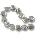 "Freshwater Coin Pearls Misty Grey AB 14-15mm (16"" Strand)"