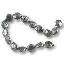 "Freshwater Coin Pearls Baroque Peacock Grey 11-12mm (16"" Strand)"
