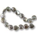 "Freshwater Coin Pearls Baroque Peacock Pewter 12-13mm (16"" Strand)"