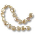"Freshwater Coin Pearls Baroque Light Peach 10-11mm (16"" Strand)"