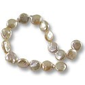 "Freshwater Coin Pearls Baroque Light Peach 11-12mm (16"" Strand)"