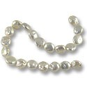 "Freshwater Coin Pearls Baroque White 11-12mm (16"" Strand)"