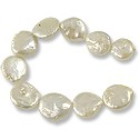 "Freshwater Coin Pearl Creme 13-14mm (16"" Strand)"