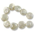 "Freshwater Coin Pearls Creme 13-14mm (16"" Strand)"