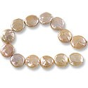 "Freshwater Coin Pearls Baroque Lavender/Peach 10-11mm (16"" Strand)"