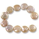 "Freshwater Coin Pearls Baroque Lavender/Peach 11-12mm (16"" Strand)"
