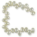 "Freshwater Rice Pearls White Top Drilled 4-4.5mm (16"" Strand)"