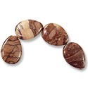 Red Zebra Jasper Teardrop Beads 24x19mm (4-Pcs)