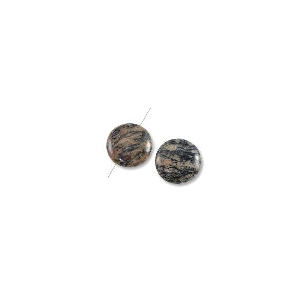 Red Zebra Jasper Disc Beads 30mm (2-Pcs)