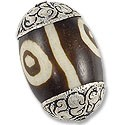 Tibetan Bead Batik Dyed Yak Bone 31x20mm Sterling Silver (1-Pc)