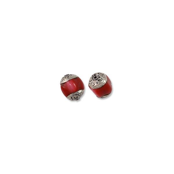 Tibetan Bead Pumpkin Coral 13-14mm Sterling Silver (1-Pc)