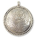 Tibetan Pendant with Dragon Design 37mm White Metal