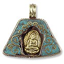 Tibetan Pendant Buddha with Turquoise 31x37mm Brass