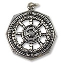 Tibetan Pendant - Good Luck Wheel 32mm Antique Nickel Silver