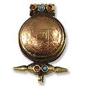 Tibetan Pendant - Coin with Stones 22mm Brass/Antique Nickel Silver
