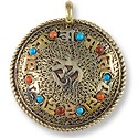 Tibetan Pendant - Om Mantra with Stones 45mm Nickel Silver