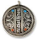 Tibetan Pendant - Om Mantra with Stones 42mm Antique Nickel Silver