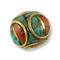 Tibetan Bead Round with Turquoise and Coral 13mm Brass (1-Pc)