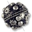 Tibetan Bead Round 17mm Silver Plated (1-Pc)