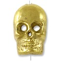 Tibetan Brass Skull Bead 14x9mm (1-Pc)