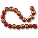 "Wood Beads Round 10mm Red/Gold (16"" Strand)"