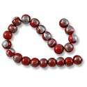 Wood Beads Round 10mm Red/Silver (16