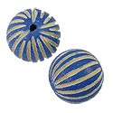 Bead Wood Round Dyed Blue 15mm (1-Pc)