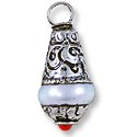 Tibetan Drop Pendant Pearl/Coral/Nickel Silver 25x10mm (1-Pc)