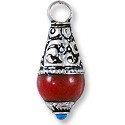 Tibetan Drop Pendant  Red Horn/Turquoise 25x10mm Nickel Silver (1-Pc)