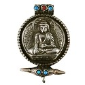 Tibetan Buddha Pendant with Turquoise/Coral 43x29mm Nickel Silver (1-Pc)