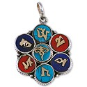 Tibetan Lapis/Turquoise/Coral Pendant 41x32mm Nickel Silver (1-Pc)