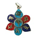 Tibetan Pendant 37x30mm Turquoise/Coral/Lapis w/ Brass & Nickel Silver