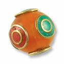 Tibetan Bead Round Amber with Turquoise and Coral 18mm Brass (1-Pc)