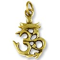 Tibetan Charm Om Symbol 20x13mm Brass (1-Pc)