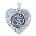 Tibetan Heart Charm Om Symbol 14x12mm Sterling Silver (1-Pc)