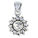 Tibetan Charm Sun with Om Symbol 16x12mm Sterling Silver (1-Pc)