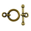 Toggle Clasp Set Pewter Antique Brass Plated (1-Pc)