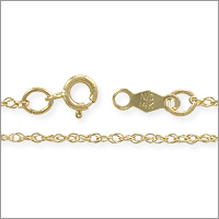 Rope Chain 1.0mm 14k Yellow Gold 18