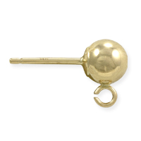 Ball Post Earring w/Ring 5mm 14k Yellow Gold (1-Pc)