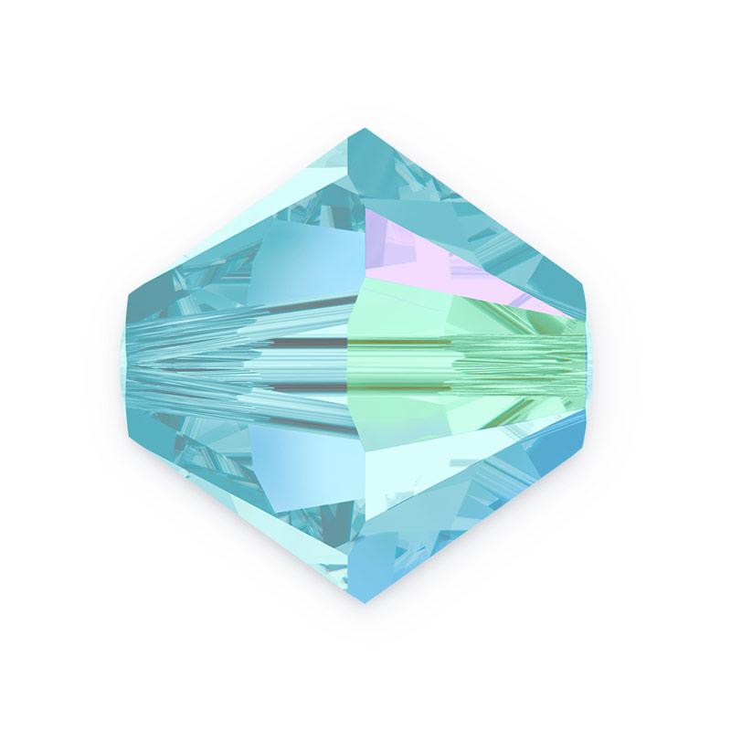 Swarovski bicone Austrian crystal beads Aquamarine Shimmer blue   4mm 6mm