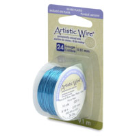 Artistic Wire 24ga Silver Plated Peacock Blue (10 Yards)
