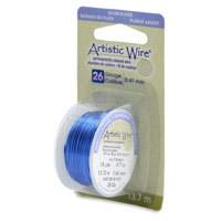 Artistic Wire 26ga Silver Plated Silver Blue (15 Yards)