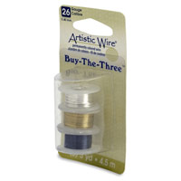 Artistic Wire 26ga Silver/Brass/Hematite 3-Pack (5 Yards)