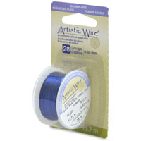 Artistic Wire 28ga Silver Plated Silver Blue (15 Yards)