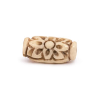 7x15mm Flower Oval Carved Bone Bead (1-Pc)