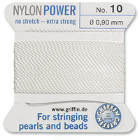 #10 White Griffin Nylon Bead Cord (2 Meters)