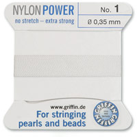 #1 White Griffin Nylon Bead Cord (2 Meters)