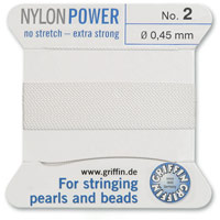 #2 White Griffin Nylon Bead Cord (2 Meters)