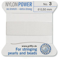 #3 White Griffin Nylon Bead Cord (2 Meters)